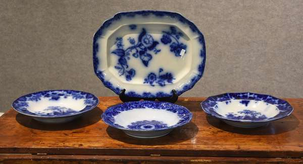 Flow blue platter and three flow blue plates (44-11)