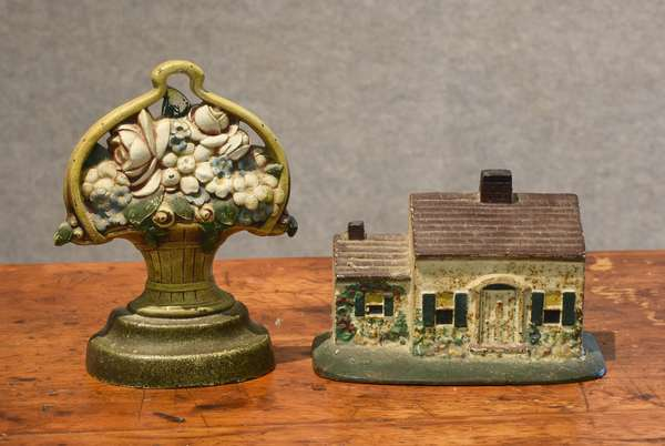 Two doorstops, house and basket of flowers (44-13)