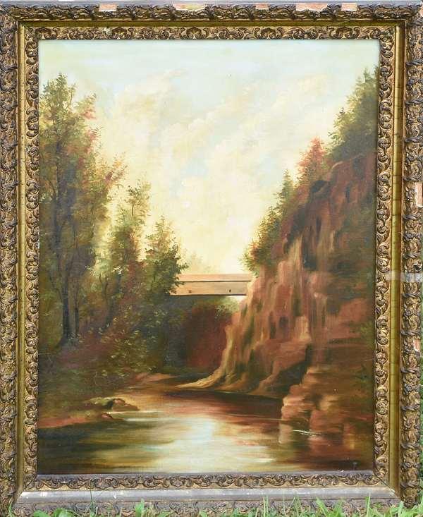 19th C. oil, covered bridge (675-45)