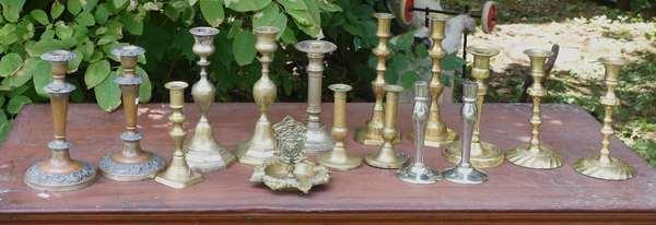 Box of brass candlesticks (675-46)