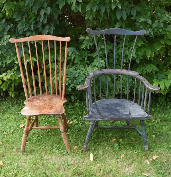 Two antique Windsor chairs (675-49)