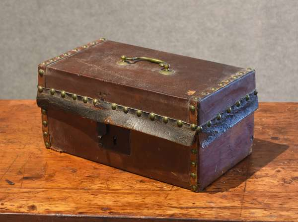 Leather studded trunk with Portsmouth label (44-21)