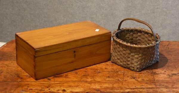 Antique basket and antique document box (44-22)