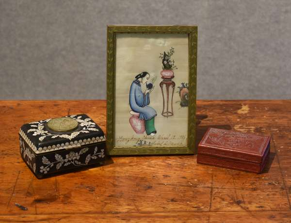 Selection of Chinese accessories, painting on rice paper, cinnabar box and a cloisonne box	(44-23)