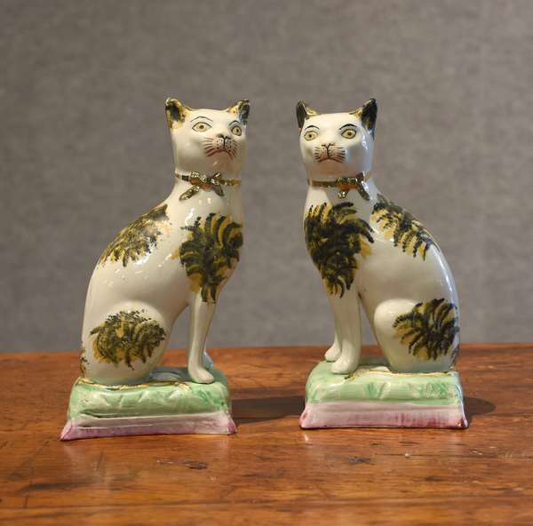 "Pair of Staffordshire cats, 7""H. (44-26)"