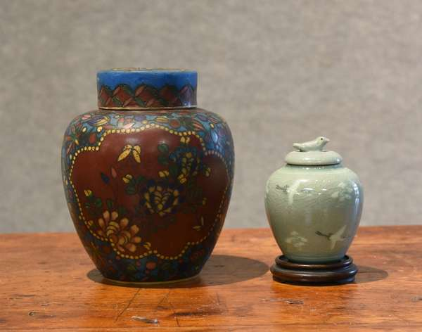 Two Asian covered jars (44-28)