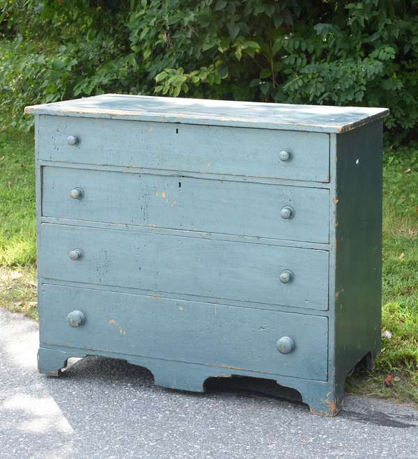 19th C. country chest in old blue/ green paint (675-62)