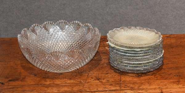 Cut glass bowl with 11 cut glass dessert plates (44-32)