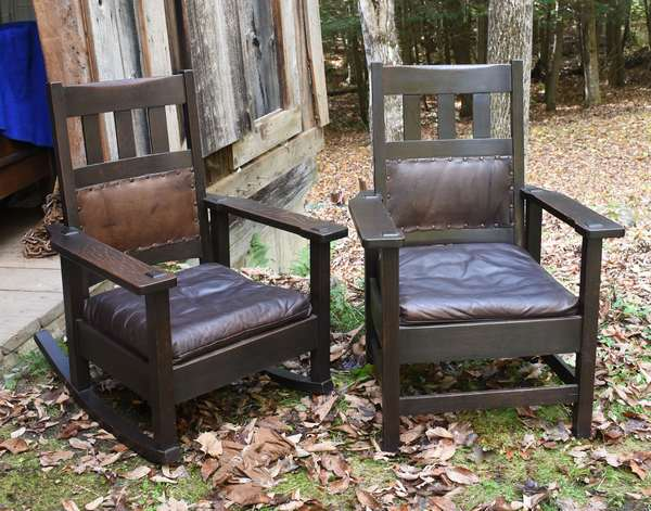 Arts & Crafts matching style rocker and chair	(48-324)