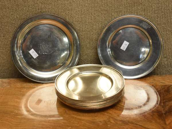 Set of 10 sterling ice cream plates, approx. 24.5 T.oz (667-14)