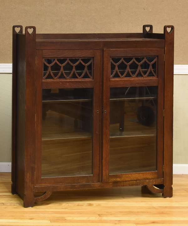 Mission oak bookcase, glass doors (437-64)