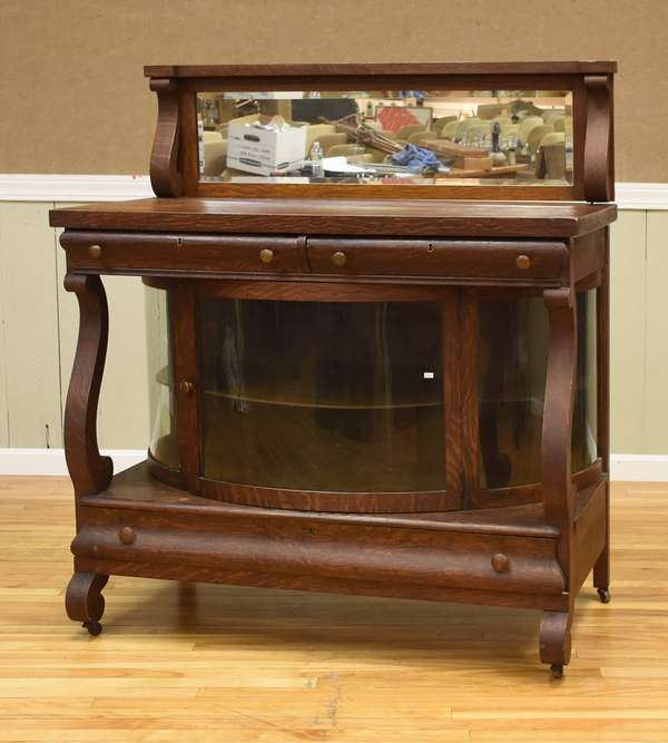 Curved glass china cabinet/buffet with mirror top (437-65)