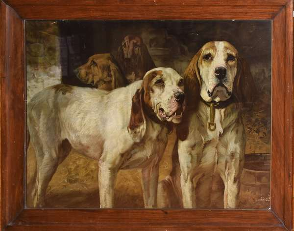 "Winchester Repeating Arms Co. famous hunting dog print by H.R. Poore, ""Copyright 1907 by Winchester Repeating Arms Co."", 26.25"" x 36"" (788-18)"
