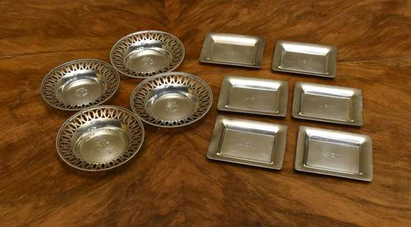 6 sterling small candy dishes along with 4 round candy dishes, approx. 9 T.oz (667-27)