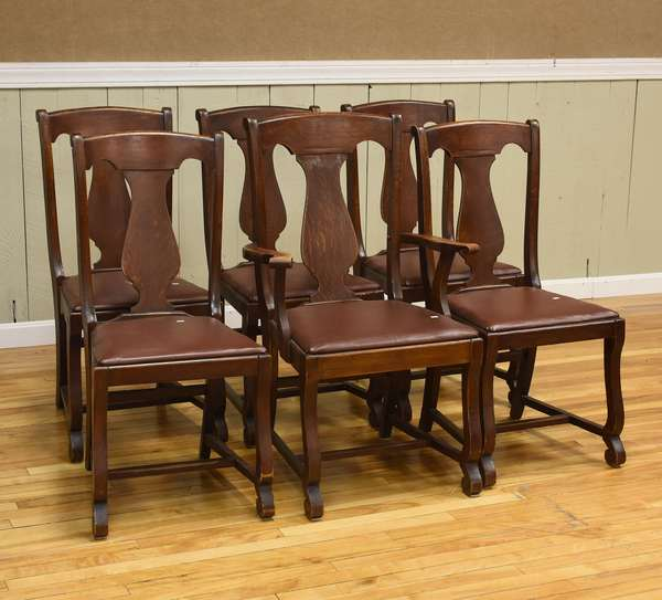 Set of six Empire style dining chairs, one arm (437-69)