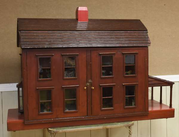 Doll house filled w/doll furniture (753-2)