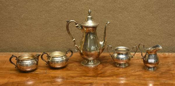 5 pieces of sterling, Fisher teapot with sugar, creamer, and a Gorham sugar and creamer, approx. 26 T.oz (757-17)