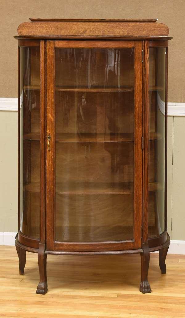 Oak glass curio cabinet(488-1)