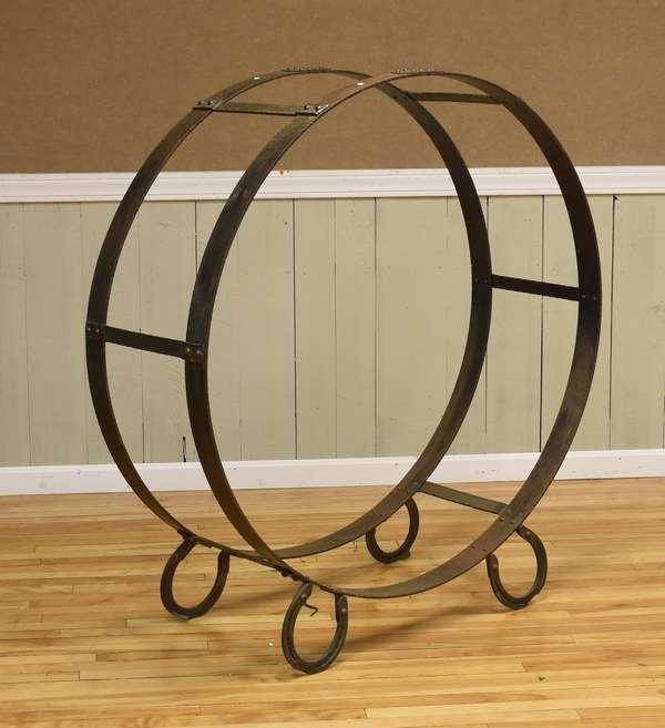 Large iron wood holder for fireplace wood (516-13)