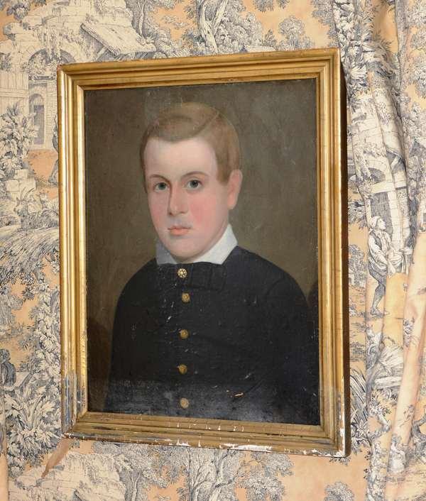 19th C. American oil on canvas laid on board portrait of a boy, Prior /Hamblin school, 19