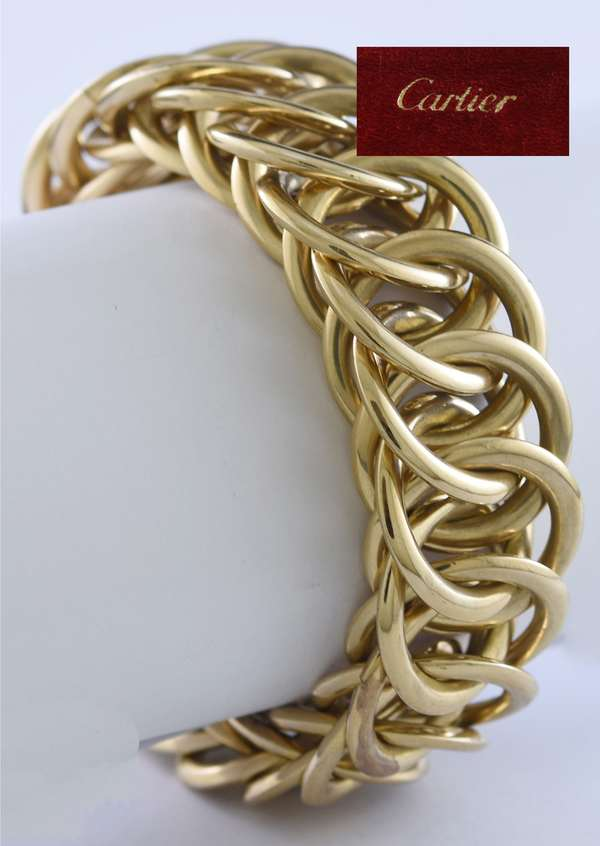 Cartier larged linked gold bracelet marked Cartier London, #4758 112 grams of tested 9k yellow gold
