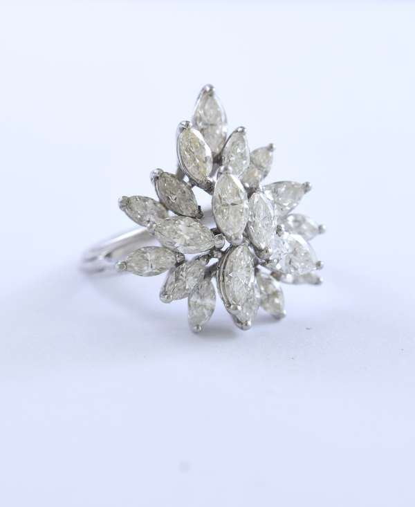 Platinum and diamond cocktail ring with approximately 7.5 ctw pear and marquis cut diamonds, size 7.75-8