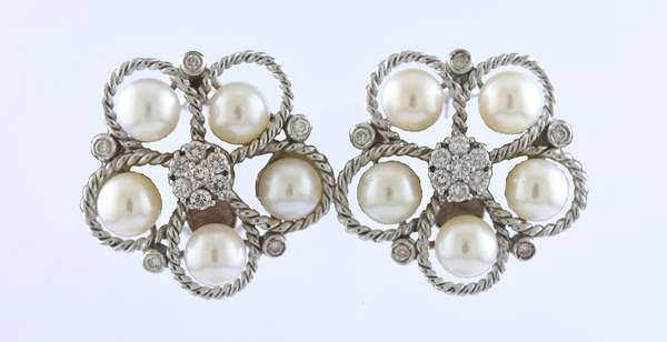 Pair of 18k white gold diamond and pearl earrings signed, 1