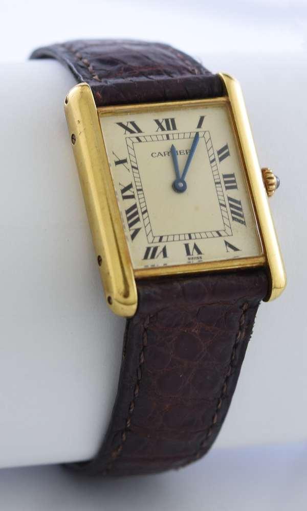 18k yellow gold Cartier Tank ladies wrist watch, larger size, marked Cartier Paris #8810529202