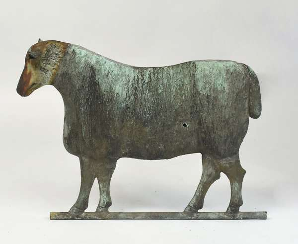 Great lamb weathervane signed Fiske, from Gilbert Livingston Farm, with zinc head and good original verdigris surface, 29