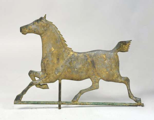 19th C. hackney horse weathervane with old gilt surface, from Gilbert Livingston farm, 25