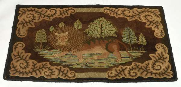 19th C. pictorial hooked rug, lion in jungle, 53.75