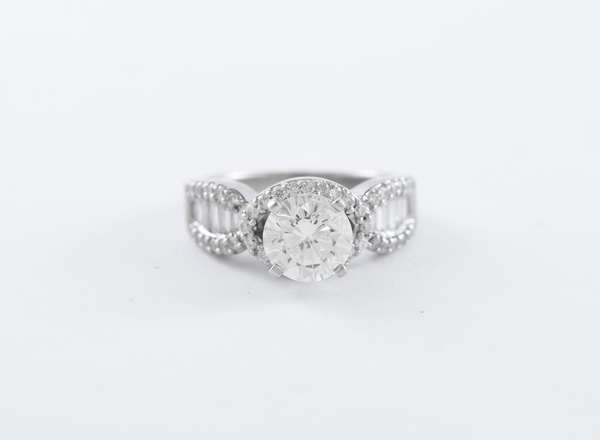 18k white gold diamond ring, round cut center diamond 2 ct with approximately 1.3 ctw of other diamonds, size 7
