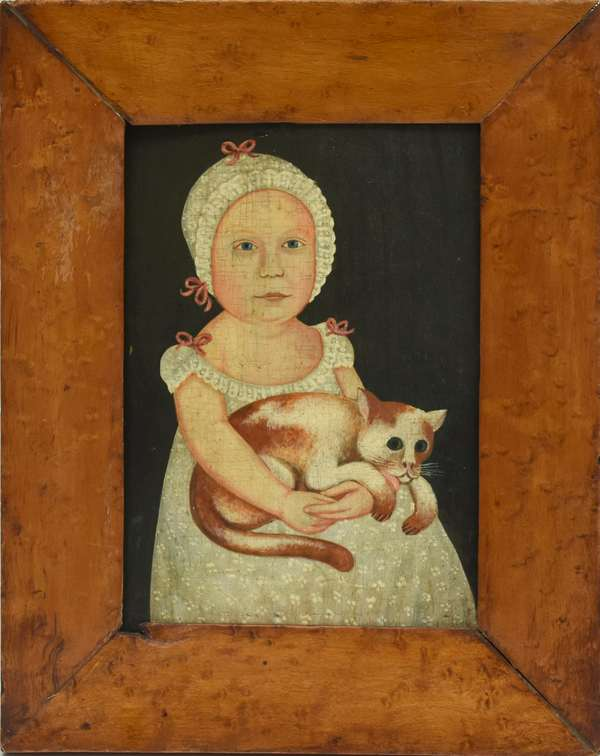 American school oil on wood board, Emma Gordon with cat, painted by E.W. Blake, inscribed on reverse,
