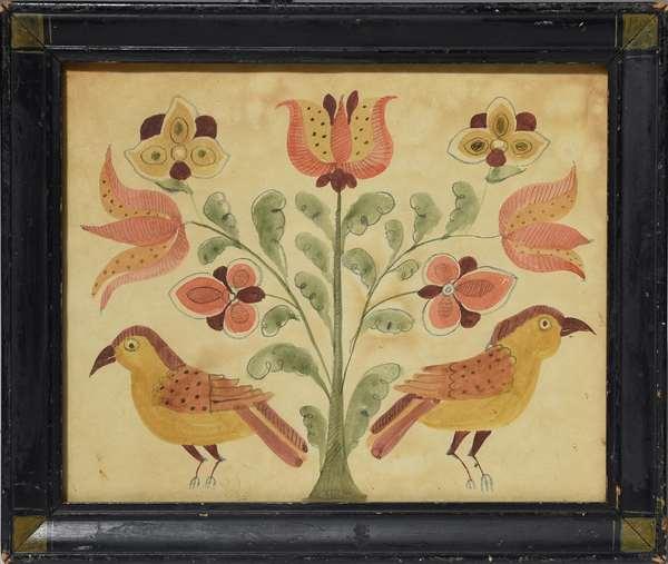 19th C. Pennsylvania watercolor on paper, tulip and bird motif, 8