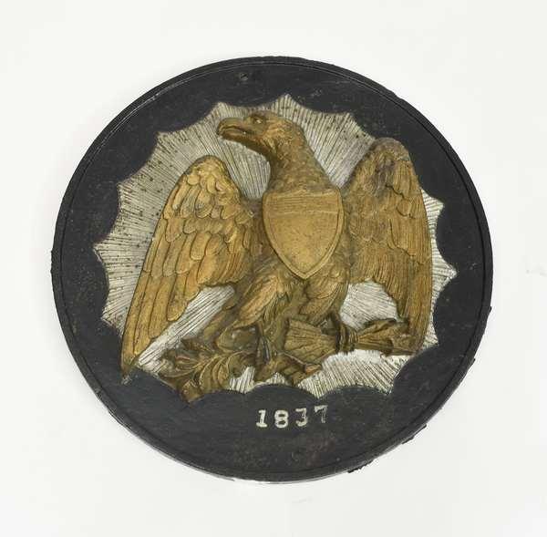 Antique cast iron eagle plaque dated 1837, 18