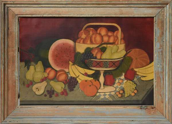 19th C. oil on canvas, Primitive still life with fruit, 20