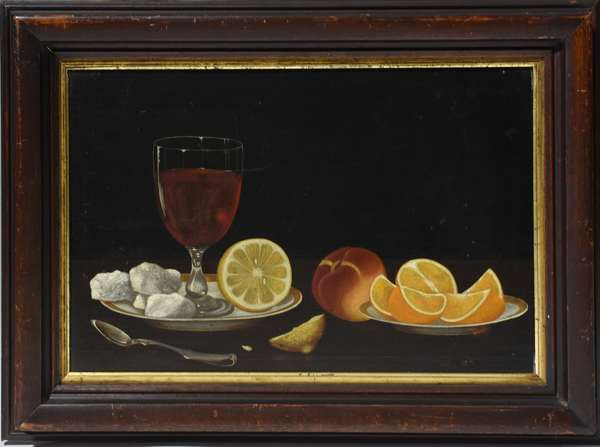 19th C. oil on board, primitive Dutch-style still-life with fruit and wine, 11.75