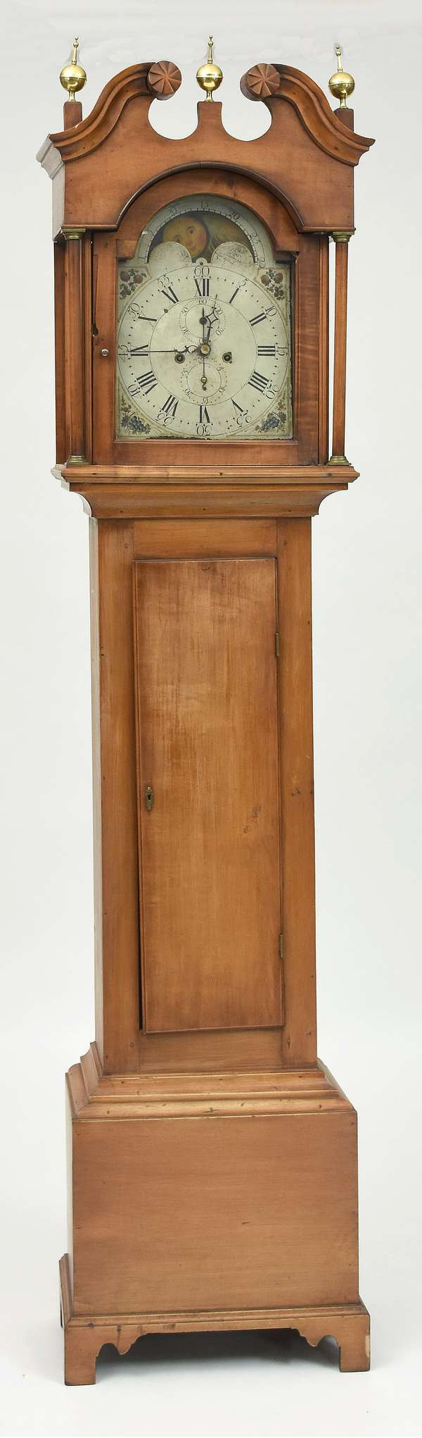 Federal Concord NH maple tall clock, brass works, ca. 1800, 88.5