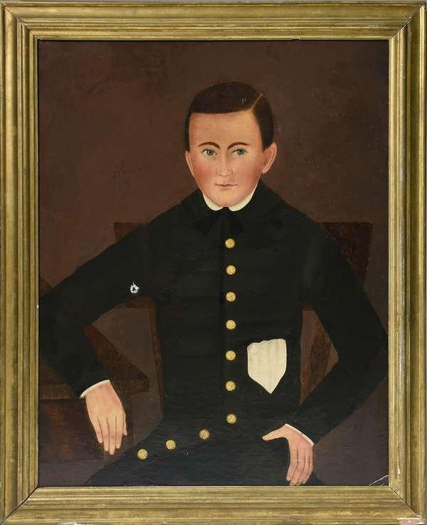 19th C. Folk Art portrait of a boy in buttoned jacket, 30