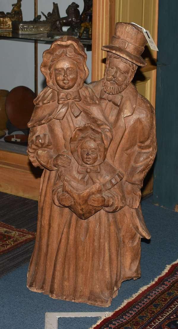 19th C. Folk Art wood carving, Christmas carolers, 32