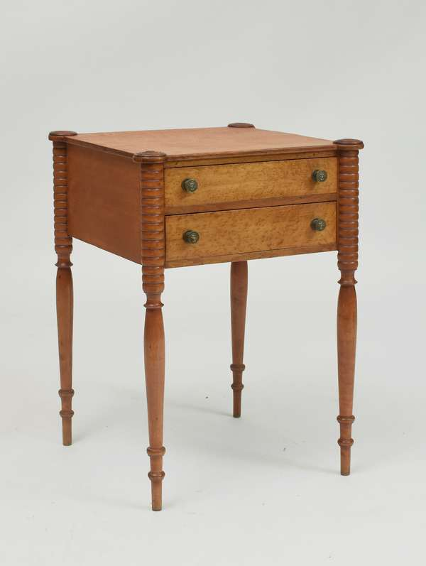 Good Federal maple and birdseye maple two-drawer stand with cookie corners, c. 1810, 28.5