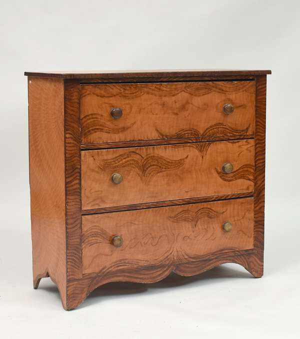19th C. VT country three drawer chest, black feathered paint decoration over salmon paint, 43