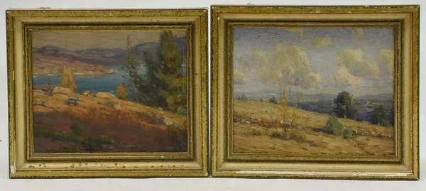 Two oils on artist's board, Sunapee NH views,