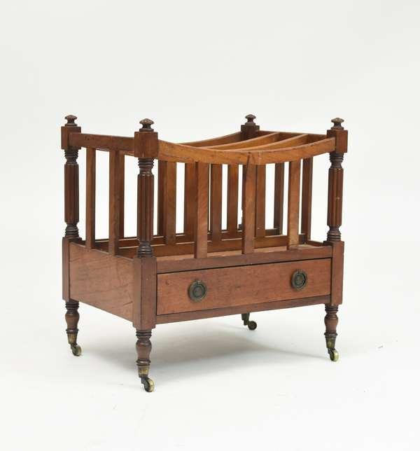 """19th C. Mahogany one drawer Canterbury, 18""""L"""