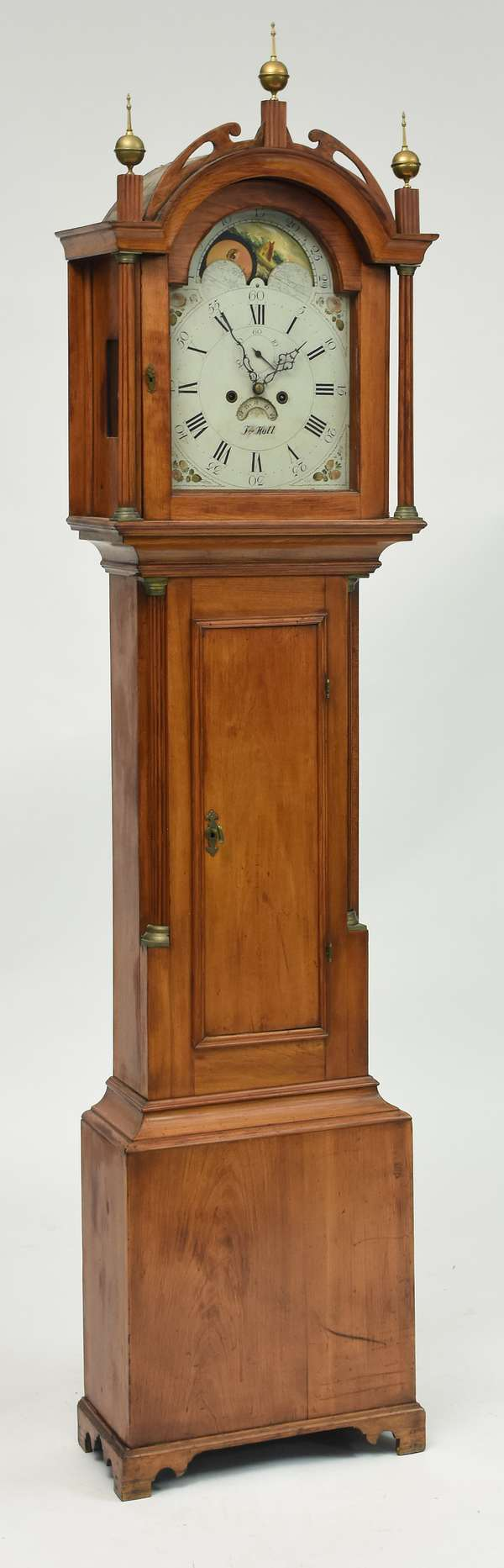 Federal cherry small size grandfather clock, brass works, dial signed J. Hall, c. 1800, 85