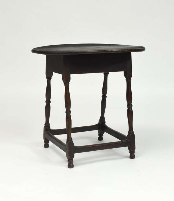 18th C. New England tavern table old color, stretcher base, sausage turnings, cherry  with pine top, 26.5