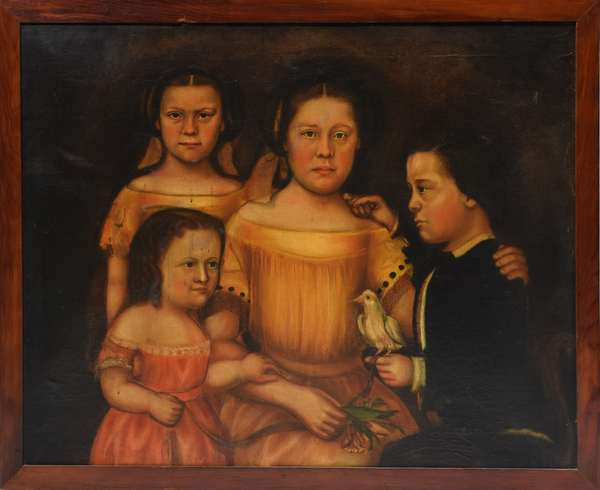 19th C. American school family portrait, four siblings with pet bird, oil on canvas, 27.5