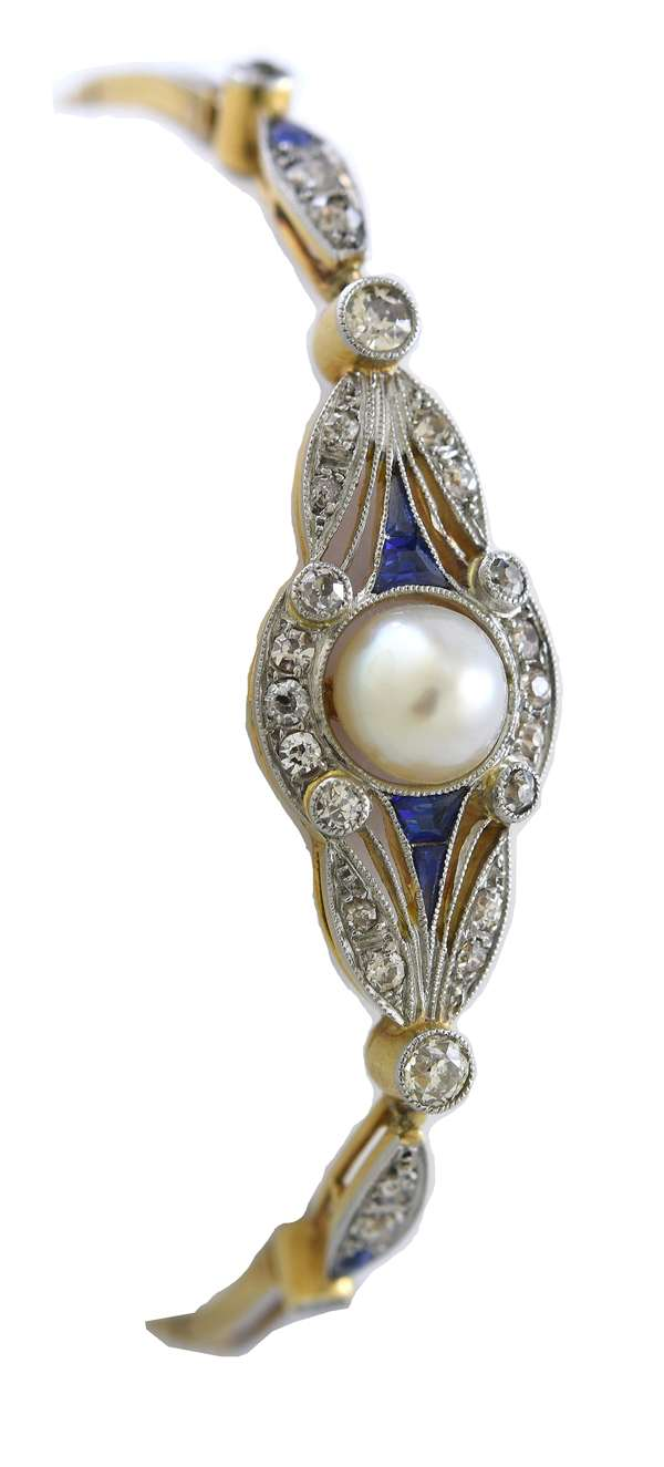 Antique diamond, sapphire and pearl bracelet, platinum topped and 18k tested yellow gold, approx. .75 ctw diamonds and 6.6 mm pearl, 6.5