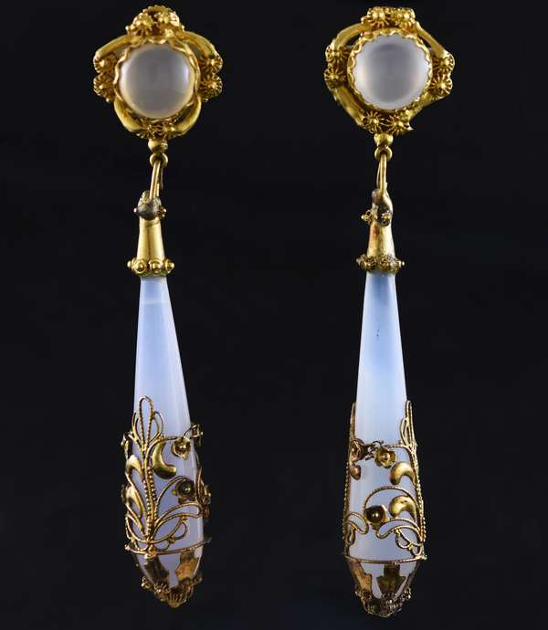 Antique tested 14k yellow gold moonstone and agate drop earrings with threaded posts, 3