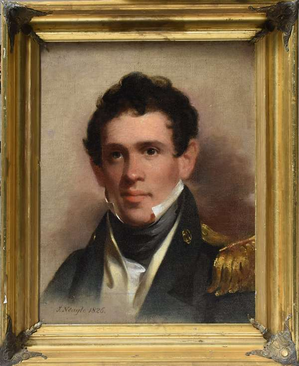 John Neagle oil, portrait of John R. Coxe oil on canvas, signed and dated lower left, inscribed on reverse: